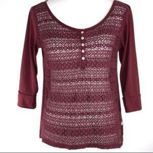 HOLLISTER 3/4 Sleeve Hi Low Crochet Burgundy Top
